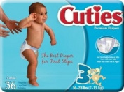 Special 4 packs of Nappies Cutie Size 3, 7.26-12.7kg - 36 per pack - First Quality CR3001