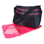 Trend Lab Ultimate Hobo Style Nappy Bag, Black and Fuchsia Pink