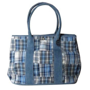 C-Red Preppy Madras Carry All Tote