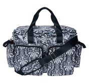 Trend Lab Deluxe Duffle Style Nappy Bag, Midnight Fleur Damask