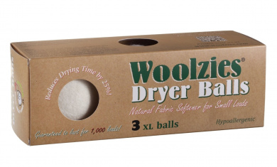 Woolzies 3 XL Wool Dryer Balls ,Natural Fabric Softener
