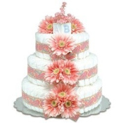 Bloomers Baby Nappy Cake Pink Daisies
