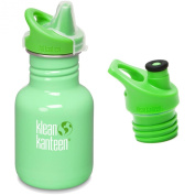 Klean Kanteen 350ml Stainless Steel Water Bottle with 2 Caps (Kid Kanteen Sippy Cap and Sports Cap 7.6cm Bright Green) - All Colours
