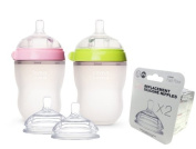 Comotomo Natural Feel Set - Double Pack Green & Pink 240ml Baby Bottles, PLUS Extra Nipples Packs - Fast Flow & Variable Flow