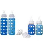 Lifefactory Glass Baby Bottle Starter Kit, Boy Sky/Ocnblue, 270ml & 120ml