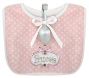Stephan Baby Infant Girl Polka Dot Bib and Silver Plated Bent-Handled Spoon Gift Set, Little Princess
