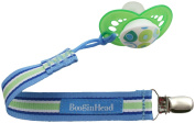 BooginHead Blue-Green-White Stripe PaciGrip Pacifier Strap and Holder