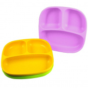 Re-Play Divided Plates, Purple/Green/Bright Pink, 3-Count