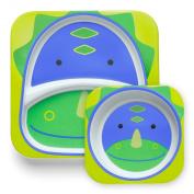 Skip Hop Baby Zoo Little Kid and Toddler Feeding Melamine Divided Plate and Bowl Mealtime Set, Multi Dakota Dinosaur