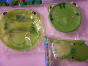 Animal Friends Frog 3 Piece Plastic Dining Set ~ Divided Plates, Snack Containers with Spoons, Travel Bowl with Lid
