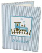 Stephan Baby Train Time Keepsake Mini Stripe Photo Album Brag Book, It's a Boy, Blue/White