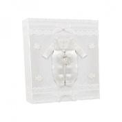 Stephan Baby Keepsake Infant Boy Christening Photo Album with Satin Outfit Embellishment, White