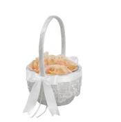 RaeBella Weddings Chantilly Lace White Bridal Flower Girl Basket With Custom Satin Ribbon Wedding Day Traditional Bride Bow