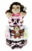 NYC Nappy Cakes My Little Monkey Baby Girl 3 Tier Nappy Cake