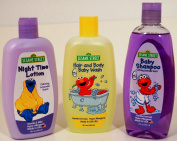 Sesame Street Calming Baby Lavender Bedtime and Bath Time Essentials Gift Set, Hypo-Allergenic Shampoo, Body Wash and Lotion - Plus Wash Mitt