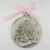 Guardian Angel Crib Medal Pink Ribbon Round 2 3/4 Great Gift