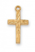 Gold over Sterling Silver BABY CROSS 33cm chain