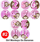 GIRL BANANA MONKEYS Baby Month Onesie Stickers Baby Shower Gift Photo Shower Stickers, designs by OnesieStickers