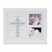 White 8x10, Holds 2-3x3 Photos Christening Poem Frame