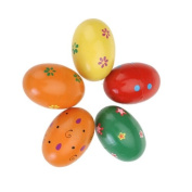 2pcs Fashion Wooden Egg Style Colourful Children Rattles Toys