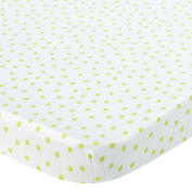. Knit Bassinet Sheet - Lime Dots