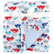 Hudson Baby Printed Blanket with Plush Backing, Blue