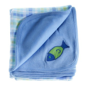 Adorbee 1 Fish 2 Fish Baby Receiving Blanket, Double Sided Designs, Swaddle Blanket