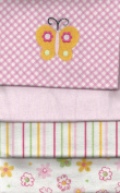 Carter's 4 Flannel Blanket Set For Baby Girl Pink Blankets embroidered Butterfly