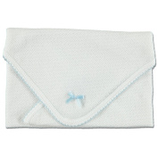 Paty Inc Infant Baby Boys White Monogrammable Blanket with Blue Trim
