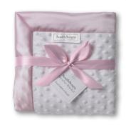 SwaddleDesigns White Plush Dot and Baby Velvet Stroller Blanket
