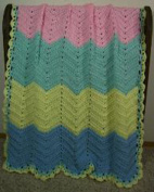 Handmade Baby Blanket, Pastel Colours - Pink, Green, Yellow, Blue, Size 91cm x 102cm