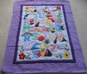 Hawaiian Style Quilt ABC comforter baby blanket wall hanging, Hand Quilted/Hand appliqued and Machine Embroidered