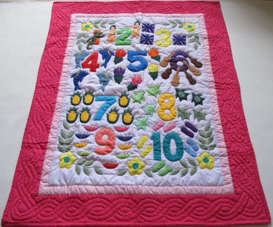Hawaiian Style Quilt Numbers Comforter Baby Crib Blanket Wall Hanging, Hand Quilted/Hand Appliqued and Machine Embroidered