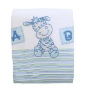 Baby Boy Giraffe Design Embroidered 100% Cotton Pram Blanket (One Size)
