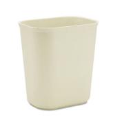 Fire-Resistant Wastebasket, Rectangular, Fiberglass, 3.5gal, Beige
