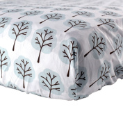 Luvable Friends Woven Fitted Crib Sheet - Blue Tree