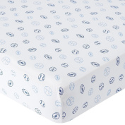 . Knit Crib Sheet - Blue Sports