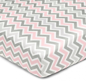 American Baby Company 100% Cotton Percale Fitted Crib Sheet, Pink Zigzag