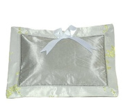 I Frogee Brocade Baby Pillow in Silver-Green Cherry Blossom + Bamboo Leaves