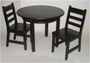 Lipper International Child's Round Table With Shelf And Two Chairs - Espresso