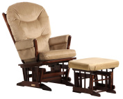 Dutailier Round Back Cushion Design 2 Post Glider and Ottoman Combo