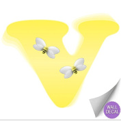 Yellow Bumble Bee Alphabet Letter Initial Wall Sticker Vinyl Stickers - Decal Letters for Children's, Nursery & Baby's Room Decor, Baby Name Wall Letters, Girls Bedroom Wall Letter Decorations, Child's Names. Bumble Honey Bee Bees Mural Walls Decals