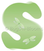 Green Dragonfly Alphabet Letter Initial Wall Sticker Vinyl Stickers - Decal Letters for Children's, Nursery & Baby's Room Decor, Baby Name Wall Letters, Girls Bedroom Wall Letter Decorations, Child's Names. Dragonflies Mural Walls Decals Baby Shower