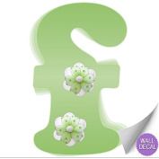 Green Daisy Flower Alphabet Letter Initial Wall Sticker Vinyl Stickers - Decal Letters for Children's, Nursery & Baby's Room Decor, Baby Name Wall Letters, Girls Bedroom Wall Letter Decorations, Child's Names. Flowers Mural Walls Decals Baby Shower