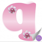 Pink Daisy Flower Alphabet Letter Initial Wall Sticker Vinyl Stickers - Decal Letters for Children's, Nursery & Baby's Room Decor, Baby Name Wall Letters, Girls Bedroom Wall Letter Decorations, Child's Names. Flowers Mural Walls Decals Baby Shower