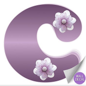 Purple Daisy Flower Alphabet Letter Initial Wall Sticker Vinyl Stickers - Decal Letters for Children's, Nursery & Baby's Room Decor, Baby Name Wall Letters, Girls Bedroom Wall Letter Decorations, Child's Names. Flowers Mural Walls Decals Baby Shower