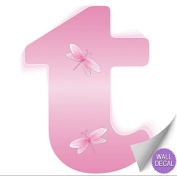 Pink Dragonfly Alphabet Letter Initial Wall Sticker Vinyl Stickers - Decal Letters for Children's, Nursery & Baby's Room Decor, Baby Name Wall Letters, Girls Bedroom Wall Letter Decorations, Child's Names. Dragonflies Mural Walls Decals Baby Shower