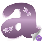 Purple Dragonfly Alphabet Letter Initial Wall Sticker Vinyl Stickers - Decal Letters for Children's, Nursery & Baby's Room Decor, Baby Name Wall Letters, Girls Bedroom Wall Letter Decorations, Child's Names. Dragonflies Mural Walls Decals Baby Shower