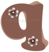 Brown Daisy Flower Alphabet Letter Initial Wall Sticker Vinyl Stickers - Decal Letters for Children's, Nursery & Baby's Room Decor, Baby Name Wall Letters, Girls Bedroom Wall Letter Decorations, Child's Names. Flowers Mural Walls Decals Baby Shower