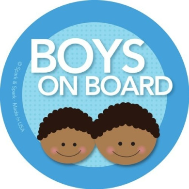 Boys on Board Car Sticker - Afr. Amer. boys on board - Modern and Unique - Bright Colours